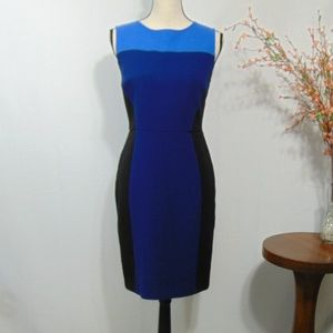 Ann Taylor Loft Sheath Dress Color Block Blue Sz 4